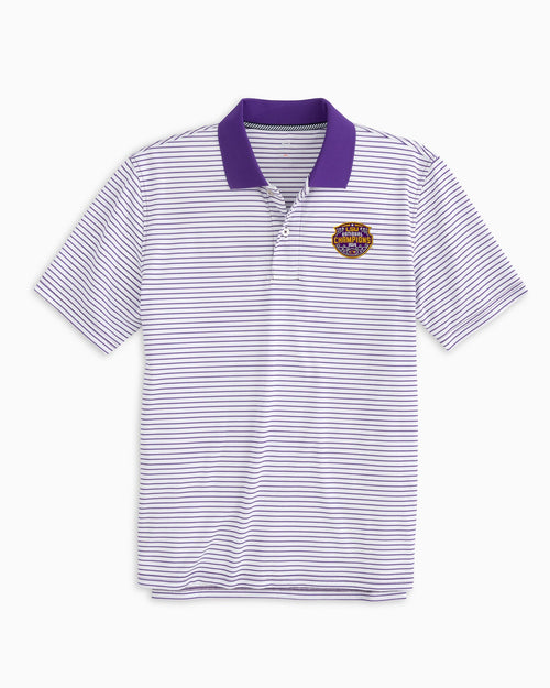 LSU Tigers National Champions Pique Striped Polo Shirt | Southern Tide