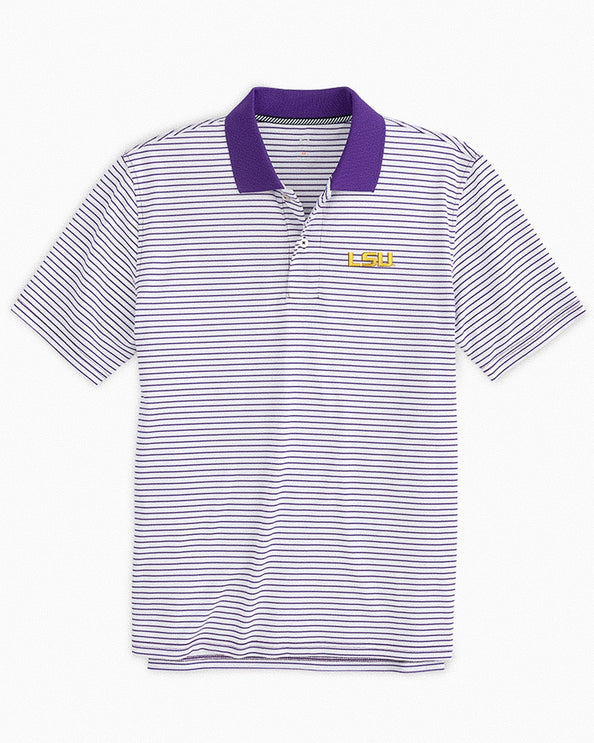 LSU Tigers Pique Striped Polo Shirt