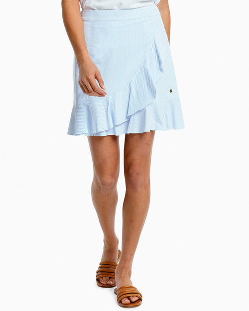The front of the Women's Margaret Performance Seersucker Ruffle Skirt by Southern Tide