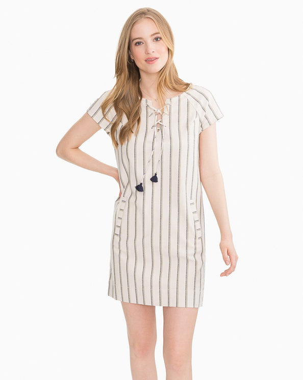 McKenna Lace-Up Striped Dress