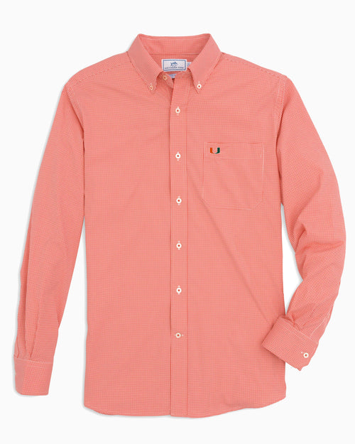 The front view of the Men's Orange Miami Hurricanes Gingham Button Down Shirt by Southern Tide