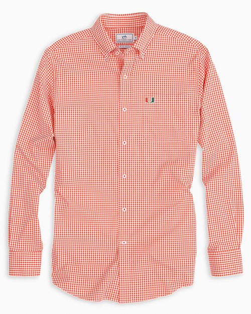 Miami Hurricanes Gingham Button Down Shirt | Southern Tide