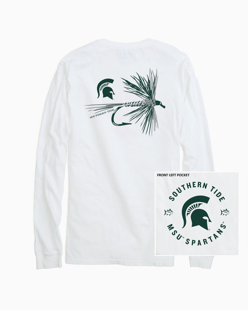 The back view and pocket detail of the Men's White Michigan Spartans Fly Long Sleeve T-Shirt by Southern Tide