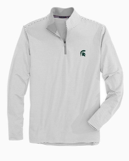 The front view of the Men's Grey Michigan Spartans Striped Quarter Zip Pullover by Southern Tide