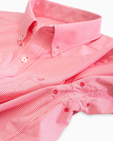 The front view of the Men's Pink Micro Gingham Intercoastal Performance Sport Shirt by Southern Tide