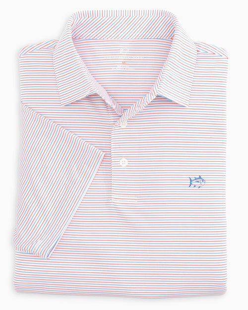 The folded view of the Men's White Driver Micro Striped Performance Polo Shirt by Southern Tide