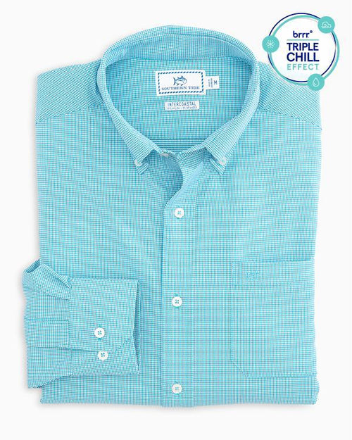 Micro Tattersall brrr Intercoastal Performance Sport Shirt | Southern Tide