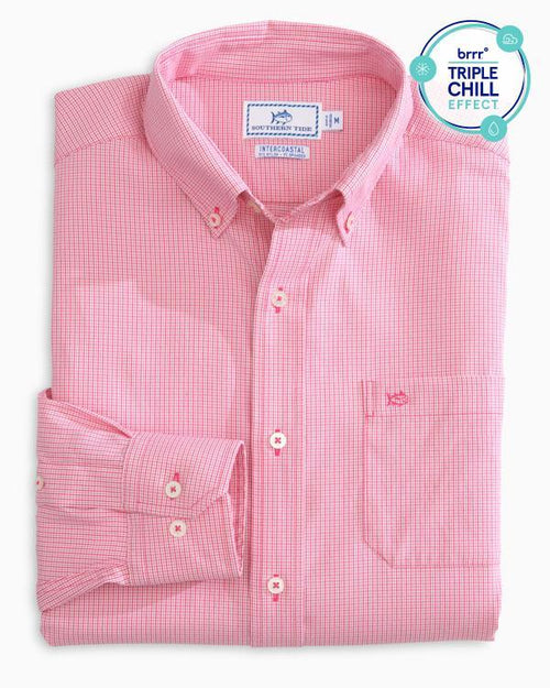 Micro Tattersall brrr® Intercoastal Performance Sport Shirt | Southern Tide