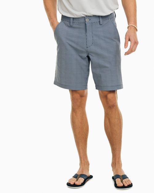 The front view of the Men's Navy Mini Check T3 Gulf Short by Southern Tide