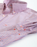 The folded view of the Men's Orange Mini Tattersall Intercoastal Performance Sport Shirt by Southern Tide