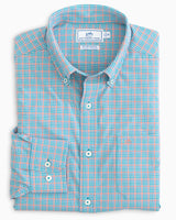 The folded view of the Men's Minicheck BRRR Intercoastal Sport Shirt by Southern Tide