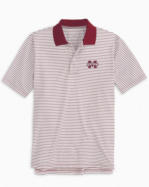 Mississippi State Bulldogs Pique Striped Polo Shirt | Southern Tide