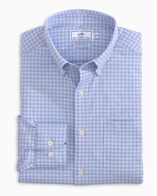 The folded view of the Men's Montefuma Gingham Intercoastal Sport Shirt by Southern Tide