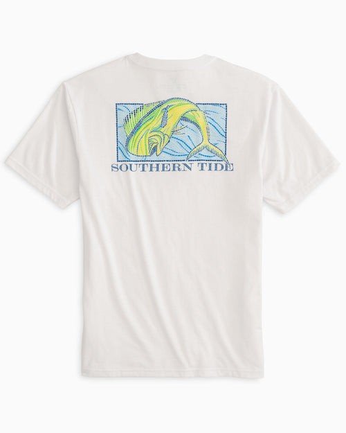The back view of the Men's Mosaic Dolphinfish T-Shirt by Southern Tide