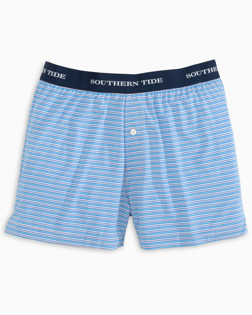 The front view of the Men's Pink Multi Stripe Performance Boxer Short by Southern Tide