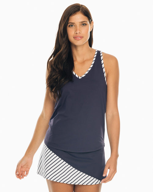 The front of the Women's Nellie Racerback Performance Knit Tank Top by Southern Tide