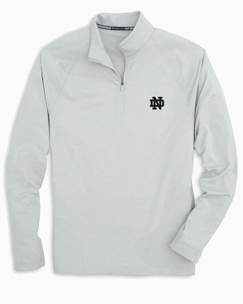 The front view of the Men's Grey Notre Dame Fighting Irish Lightweight Quarter Zip Pullover by Southern Tide