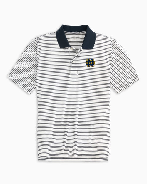 The front view of the Men's Navy Notre Dame Fighting Irish Pique Striped Polo Shirt by Southern Tide