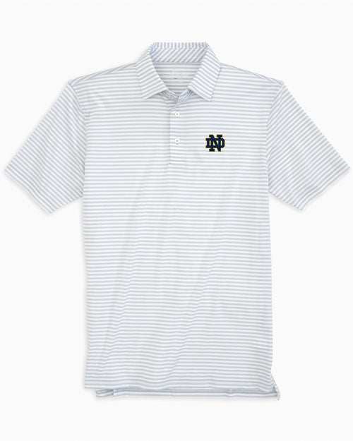The front view of the Men's Grey Notre Dame Fighting Irish Striped Polo Shirt by Southern Tide