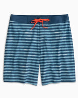 The front view of the Men's Ocean Stripe Swim Trunk by Southern Tide