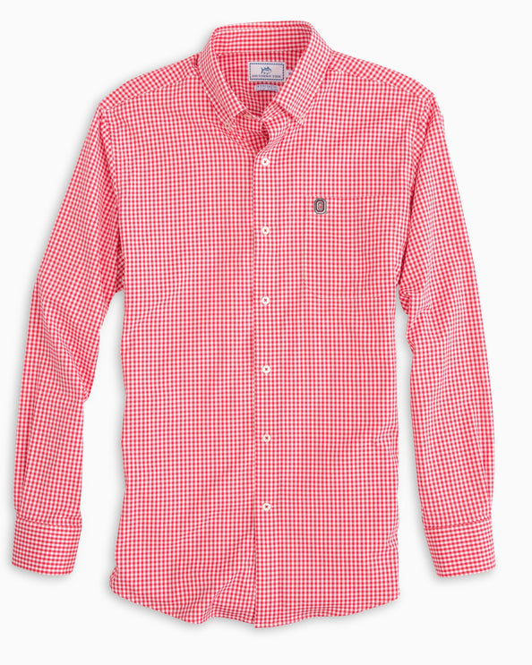Ohio State Buckeyes Gingham Button Down Shirt