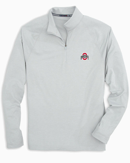 The front view of the Men's Grey Ohio State Buckeyes Lightweight Quarter Zip Pullover by Southern Tide