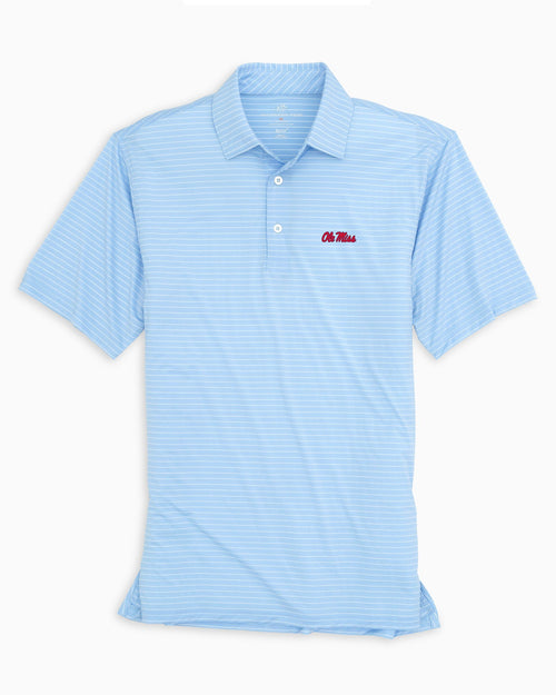 The front view of the Men's Light Blue Ole Miss BRRR® Striped Polo Shirt by Southern Tide