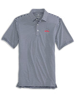 The front view of the Men's Navy Ole Miss Striped Polo Shirt by Southern Tide
