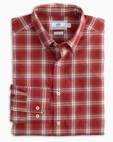 The front view of the Men's Red Brushed Cotton Plaid Button Down Shirt by Southern Tide