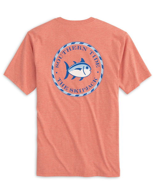 The back view of the Men's Original Skipjack Circle Heathered T-Shirt by Southern Tide