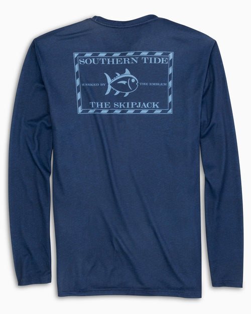 The back view of the Men's Navy Original Skipjack Performance Long Sleeve T-Shirt by Southern Tide