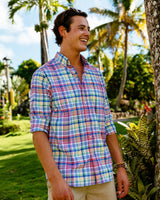 The front view of the Men's Red Overhaul Madras Intercoastal Performance Sport Shirt by Southern Tide
