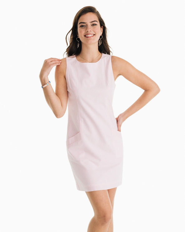 Paislee Pink Seersucker Shift Dress