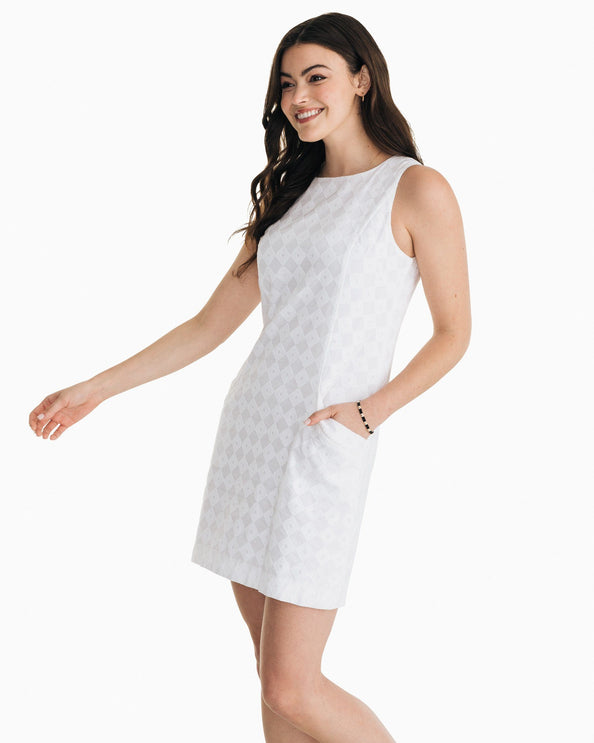 Paislee White Diamond Jacquard Shift Dress