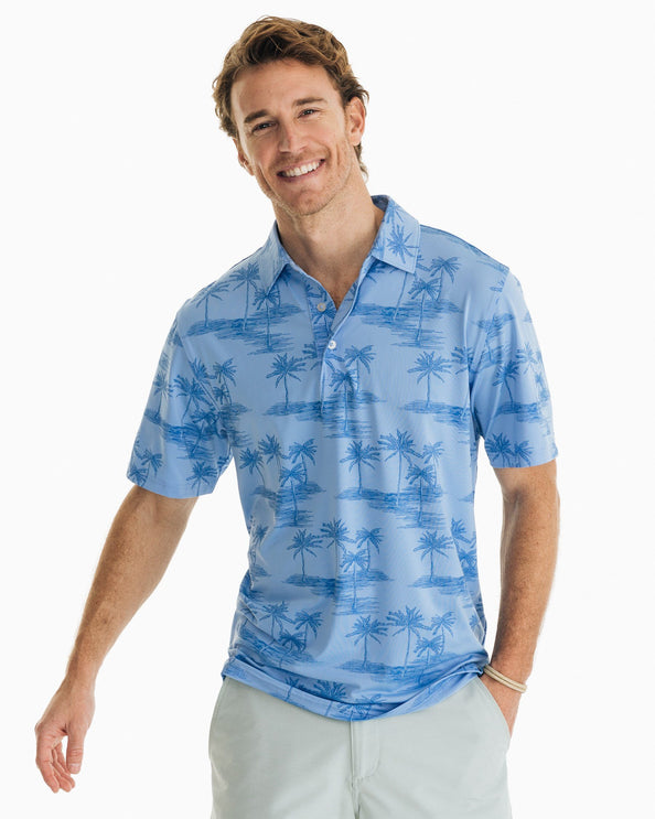Palm Print Driver Performance Polo Shirt
