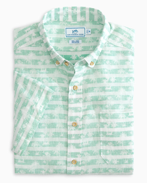 The folded view of the Men's Palm Striped Short Sleeve Button Down Shirt by Southern Tide