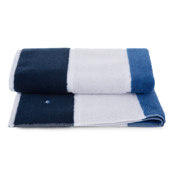 Performance Striped Bath Towel in Cobalt Blue