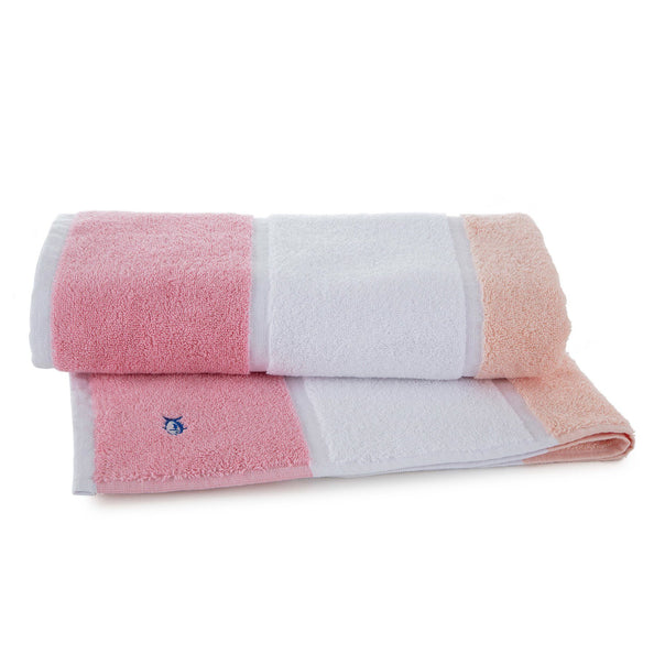 Performance Striped Bath Towel in Coral