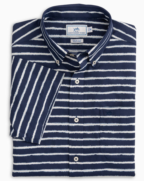 Pier Striped Intercoastal Performance Short Sleeve Sport Shirt | Southern Tide