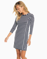 The front view of the Women's White Pippa Striped Performance Dress by Southern Tide