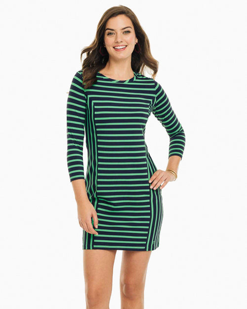 The front view of the Women's Green Pippa Striped Performance Dress by Southern Tide