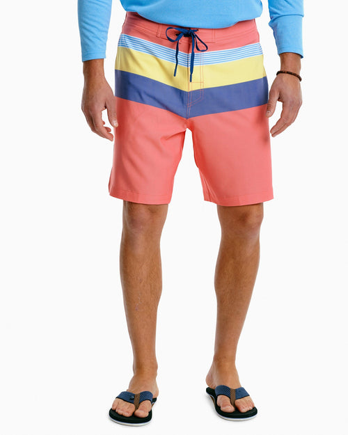 The front view of the Men's Pivot Stripe Swim Trunk by Southern Tide