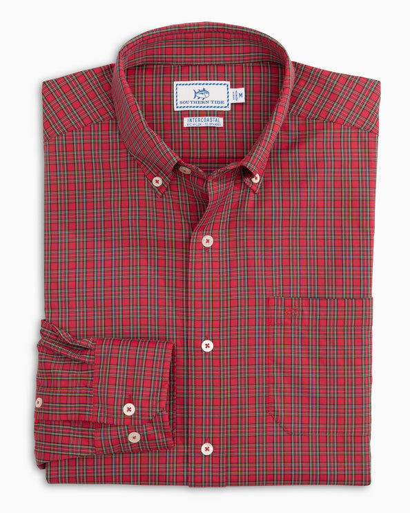 Poinsettia Plaid Intercoastal Performance Sport Shirt