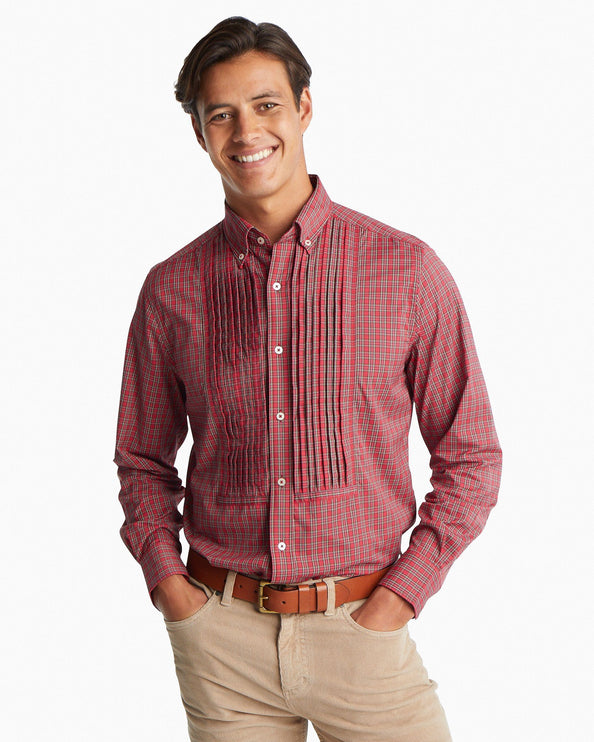 Poinsettia Plaid Pintuck Intercoastal Performance Sport Shirt