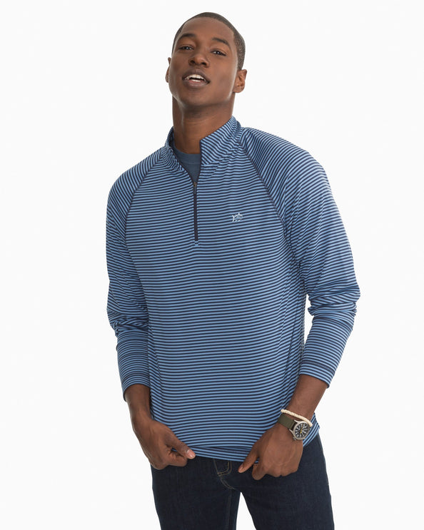 Portola Striped Performance Quarter Zip Pullover