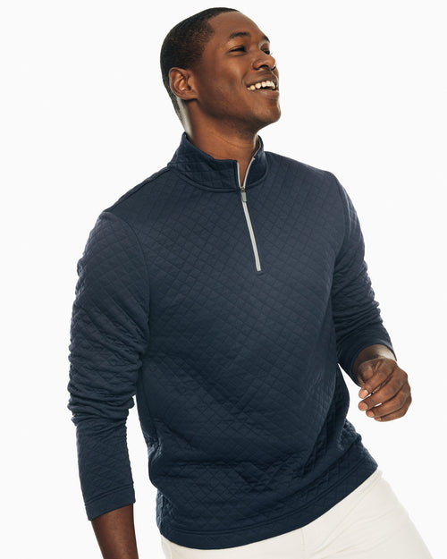 The front view of the Men's Navy Quay Quilted Pullover by Southern Tide