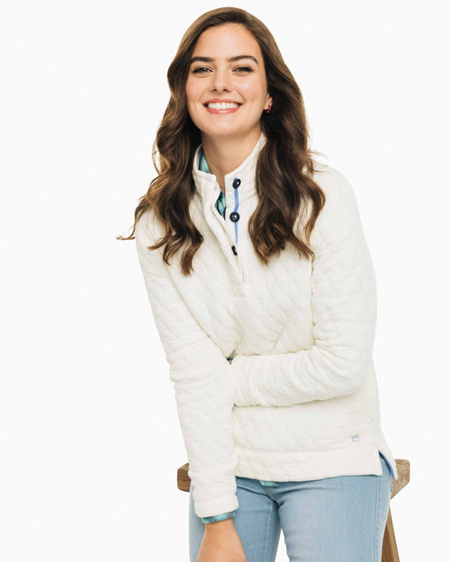 The front view of the Women's White Quilted Pullover by Southern Tide