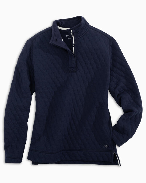 The front view of the Women's Navy Quilted Pullover by Southern Tide