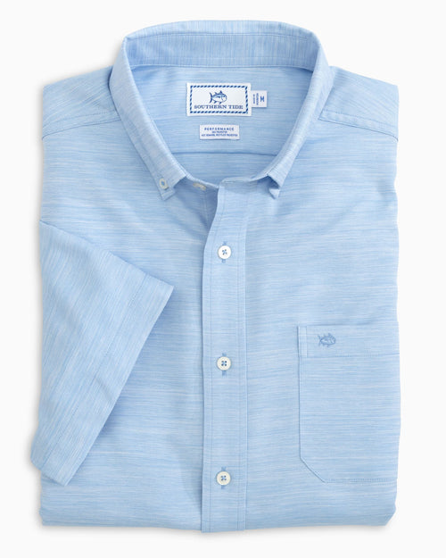 The folded view of the Men's Recycled Sea Cloth Short Sleeve Button Down Shirt by Southern Tide