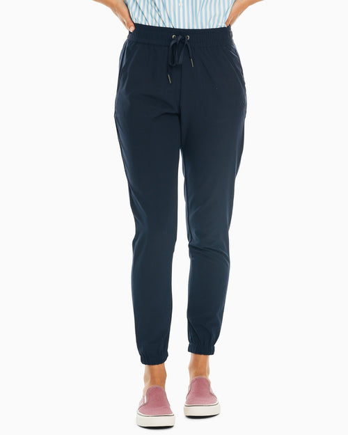 The front view of the Women's Navy Remi Jogger Pant by Southern Tide